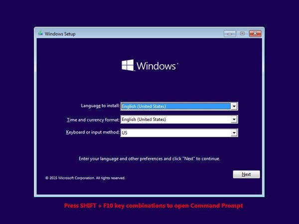 Windows 10 installation setup